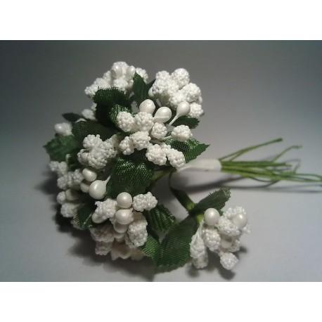 Kwiatki w pęczku  12 szt  BIAŁE