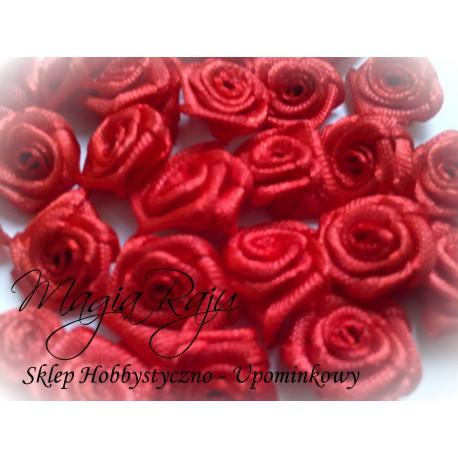 Różyczki, róże 10 SZTUK czerwone atłasowe 12 mm