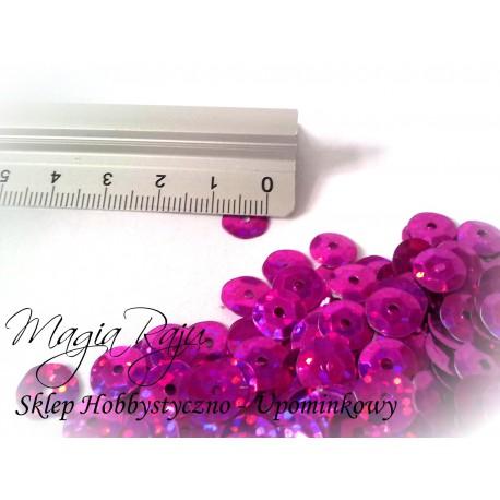 Cekiny łamane KOŁA 8MM  hologram różowo - fioletowy  6g