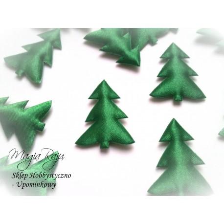 Aplikacja atłasowa choinki zielone 5 szt 3cm x 2,7 cm