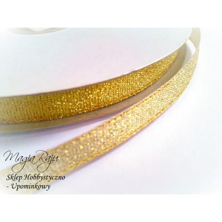 Tasiemka złota wstążka brokatowa  10 mm - 3 metry