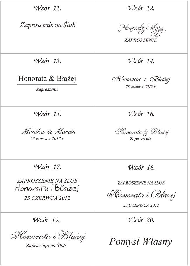 Wzory tekstów na ślub